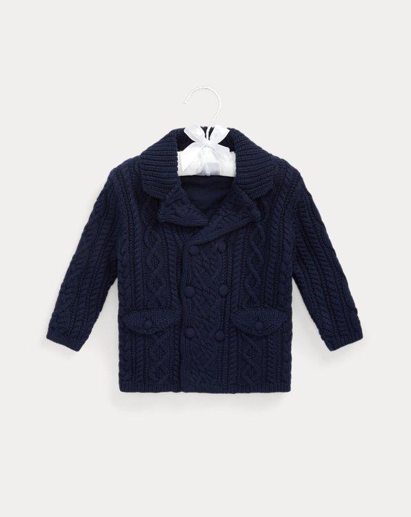 Aran-Knit Cotton-Blend Cardigan Coat