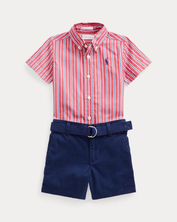 Striped Poplin Shirt, Belt & Short Set