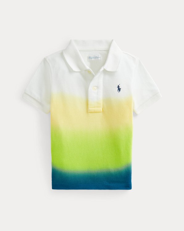Dip-Dyed Cotton Mesh Polo Shirt
