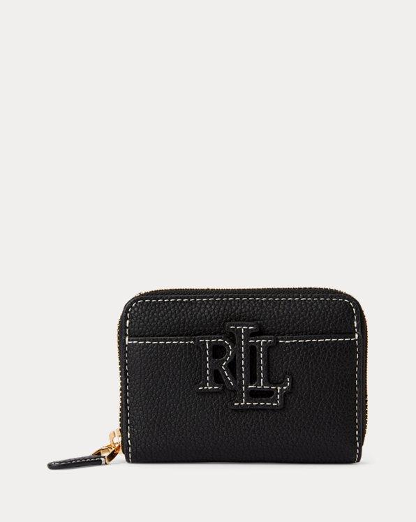 Logo Pebbled Leather Zip Wallet