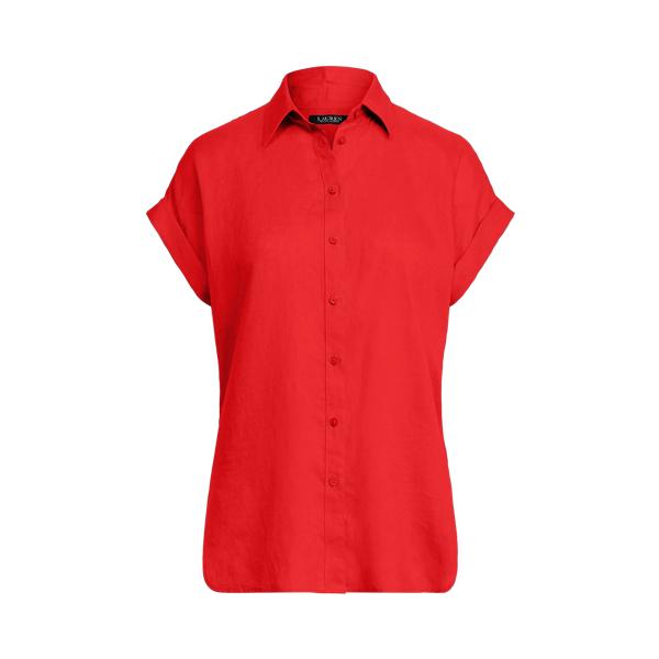 Lauren Striped Linen Dolman Sleeve Shirt,Bright Hibiscus