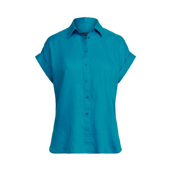 Lauren Striped Linen Dolman Sleeve Shirt,Summer Topaz