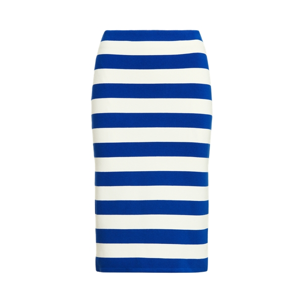 Lauren Striped Cotton Blend Skirt,Sapphire Star/White