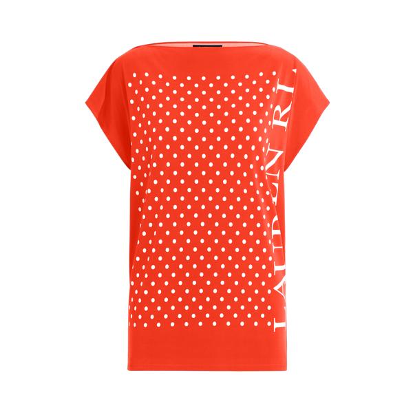 Lauren Polka Dot Logo Jersey Top,Bright Hibiscus/ White