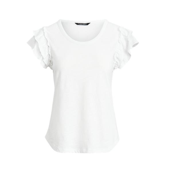 Lauren Ruffle Sleeve Slub Jersey Tee,White