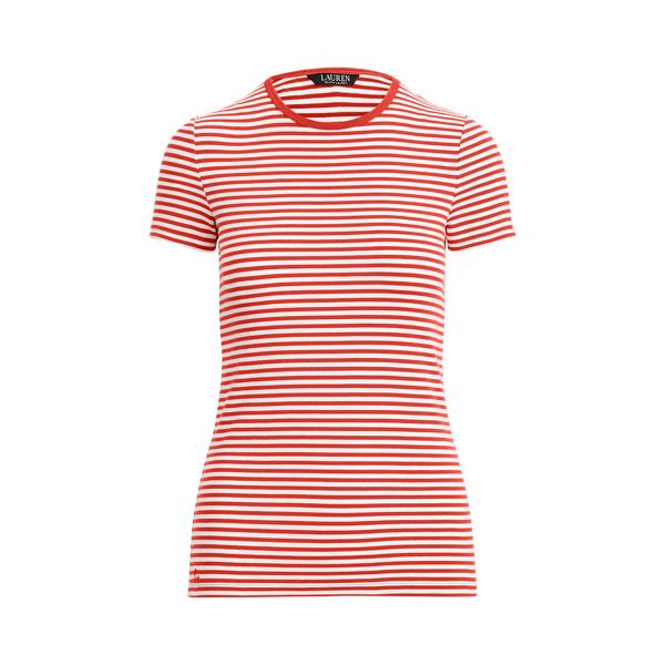 Lauren Striped Cotton Blend T Shirt,Bright Hibiscus/ White