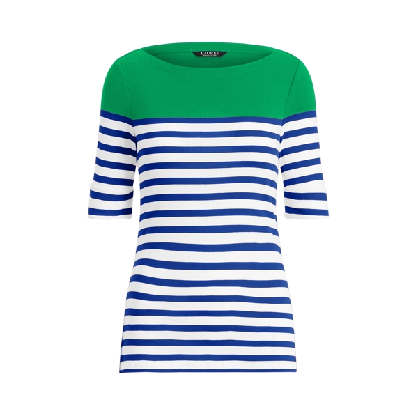 Lauren Striped Cotton Boatneck Top,Sapphire Star Multi