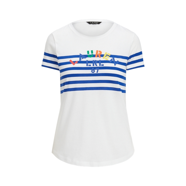 Lauren Striped Logo Jersey Tee,White/Sapphire Star
