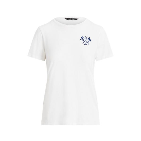 Lauren Nautical Logo Jersey Tee,White