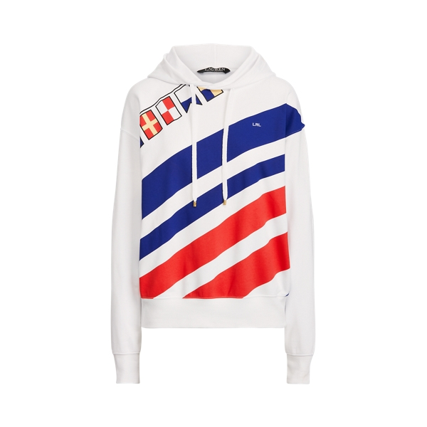 Lauren Flags and Stripes French Terry Hoodie,White