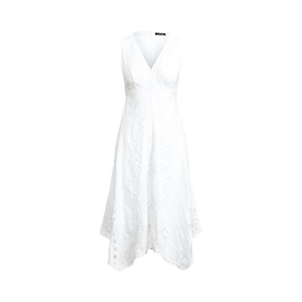 Lauren Battenberg Lace Cotton Voile Dress,White