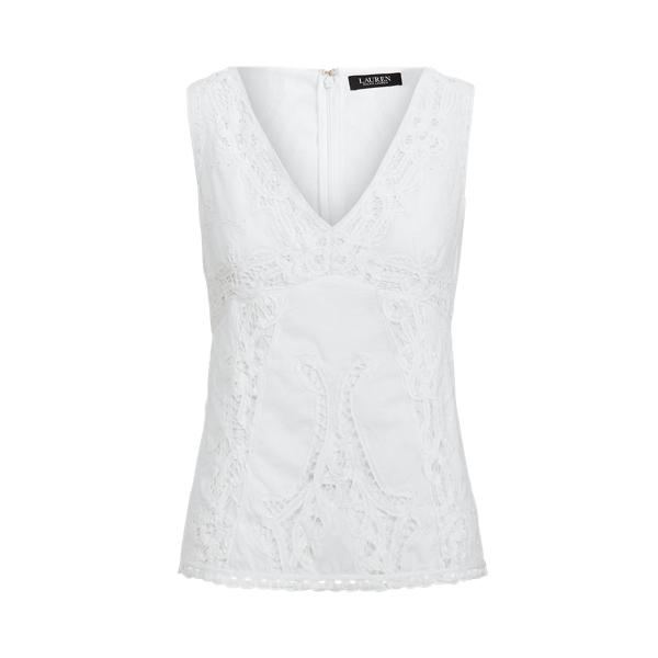 Lauren Ralph Lauren Battenberg Lace Cotton Voile Top In White