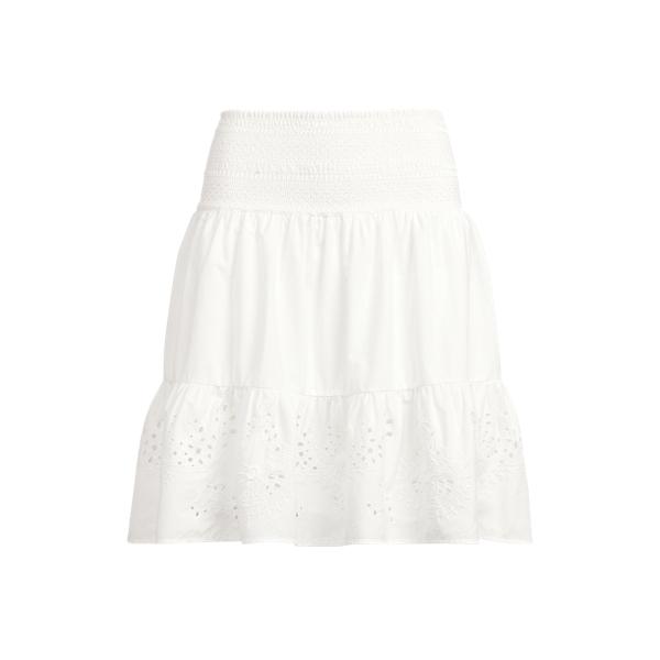 Lauren Eyelet Cotton Broadcloth Skirt,White