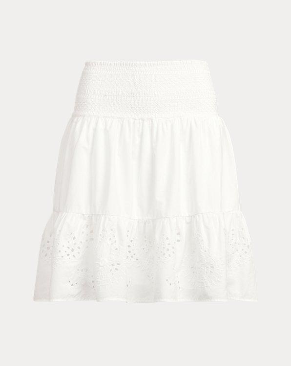 Eyelet Cotton Broadcloth Skirt