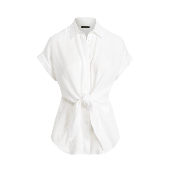 Lauren Ralph Lauren Tie-front Linen Shirt In White
