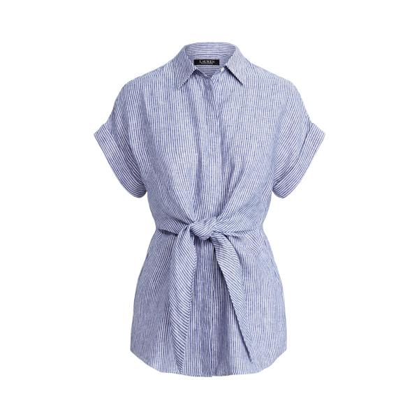 Lauren Striped Tie Front Linen Shirt,Sapphire Star/White