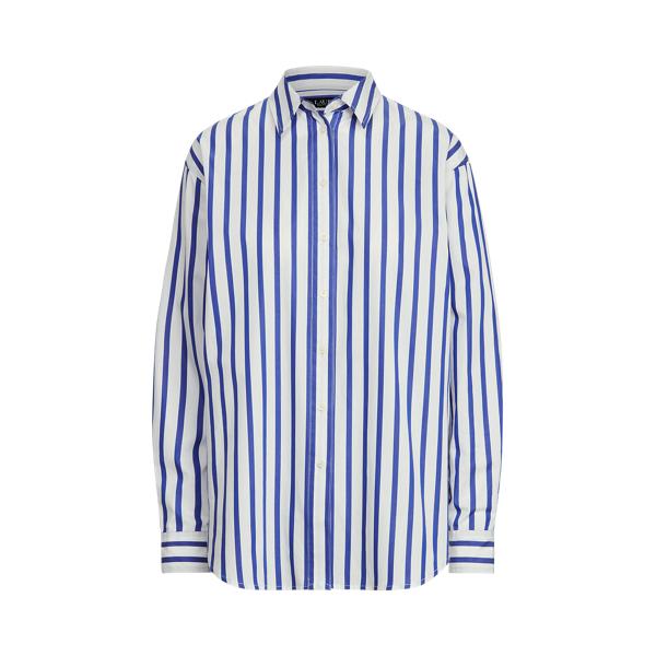 Lauren Striped Cotton Broadcloth Shirt,Blue/White