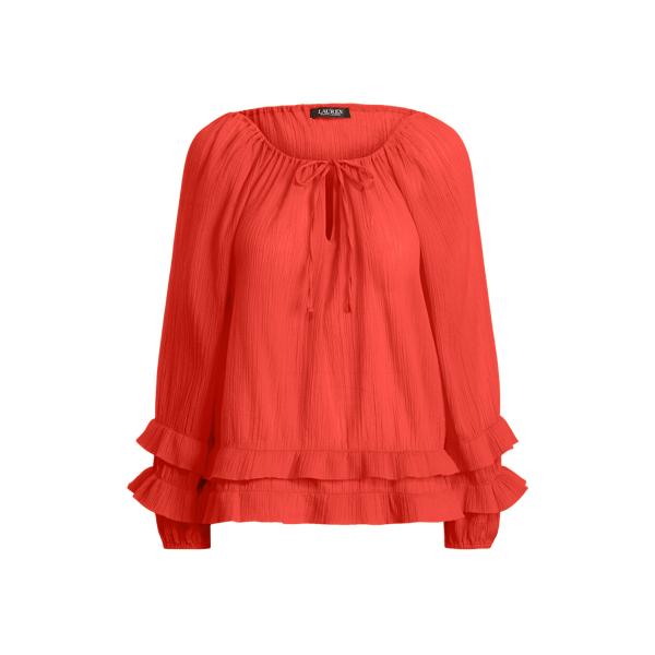 Lauren Ruffle Trim Crinkle Cotton Top,Bright Hibiscus