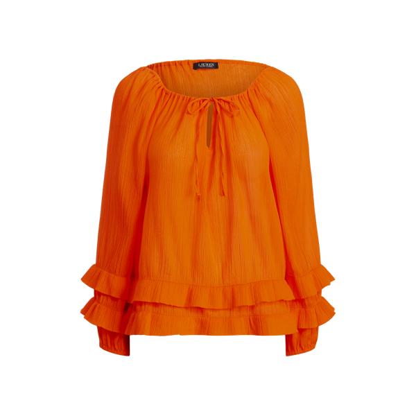 Lauren Ralph Lauren Ruffle-trim Crinkle Cotton Top In Sailing Orange