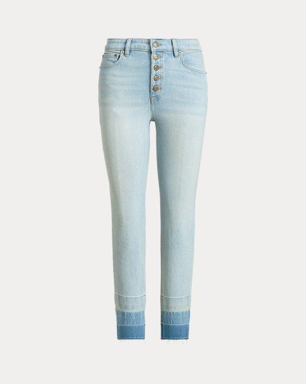 Jeans rectos tobilleros de tiro alto