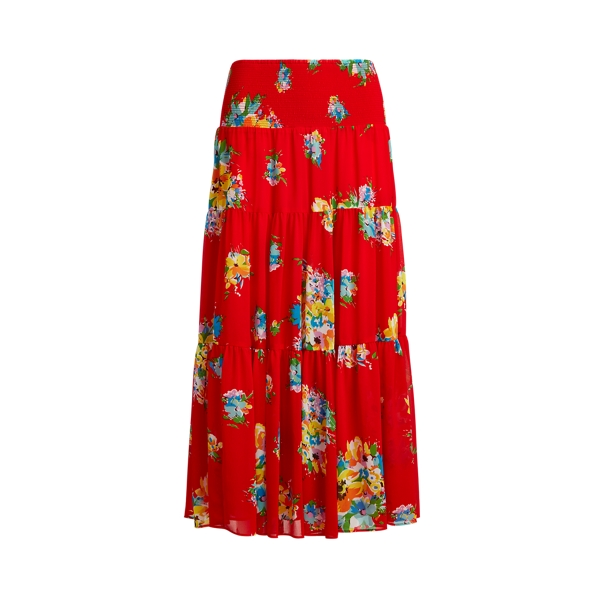Lauren Floral Georgette Midi Skirt,Bright Hibiscus Multi