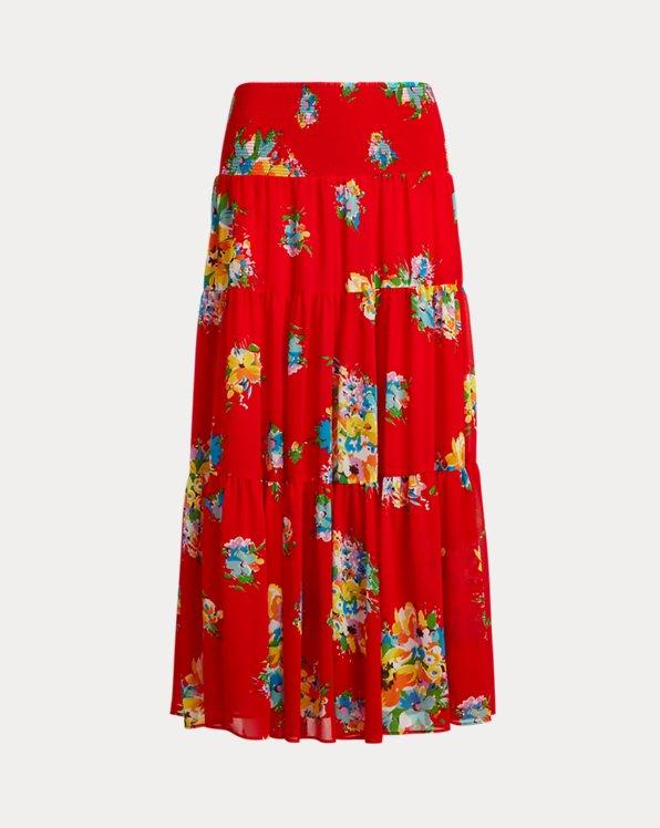 Floral Georgette Midi Skirt