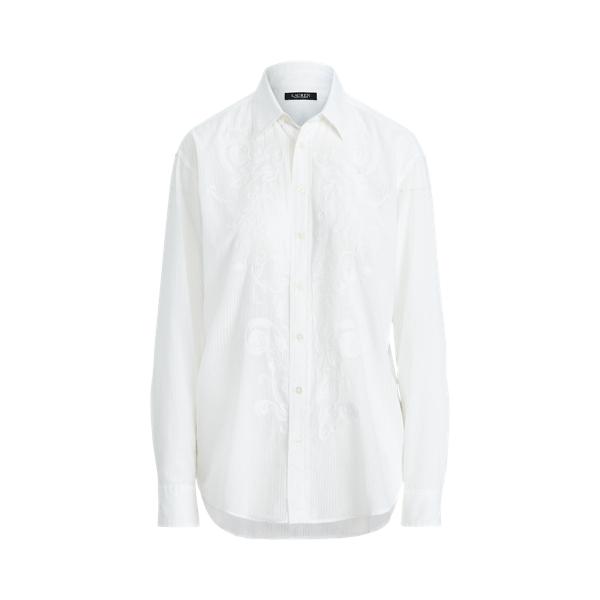 Lauren Shadow Striped Cotton Dobby Shirt,White