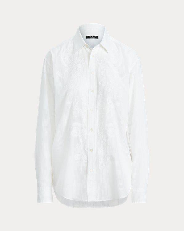 Chemise dobby de coton à rayures ombrées