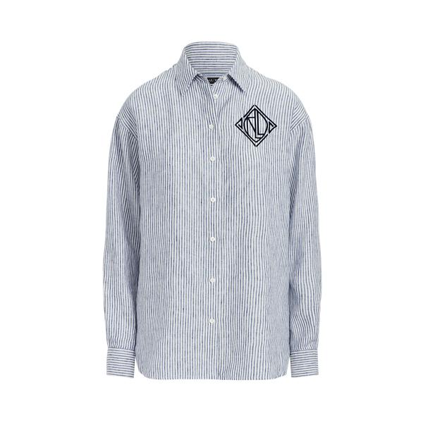 Lauren Striped Linen Shirt,Blue/White
