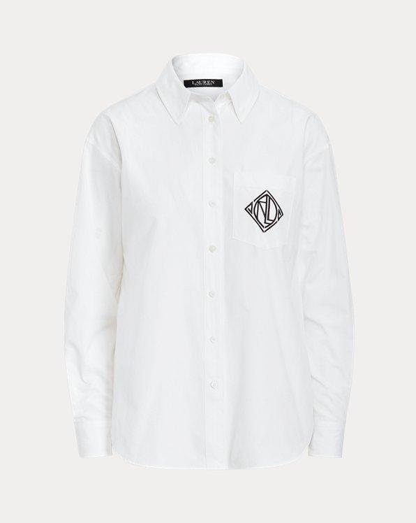 Chemise à logo en popeline de coton