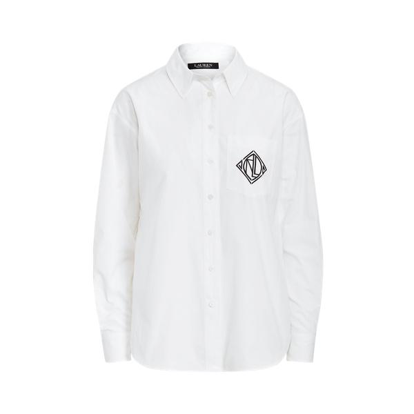 Lauren Ralph Lauren Logo Cotton Broadcloth Shirt In White