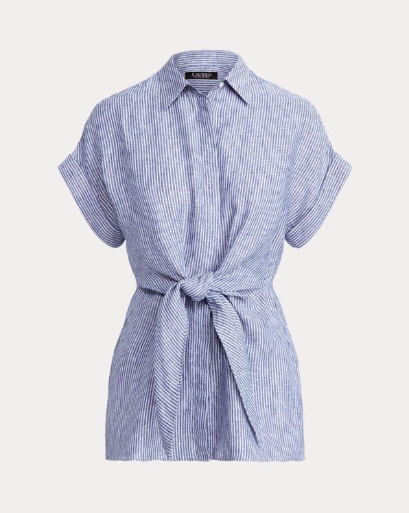 Striped Tie-Front Linen Shirt