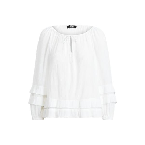 Lauren Petite Ruffle-trim Crinkle Cotton Top In White