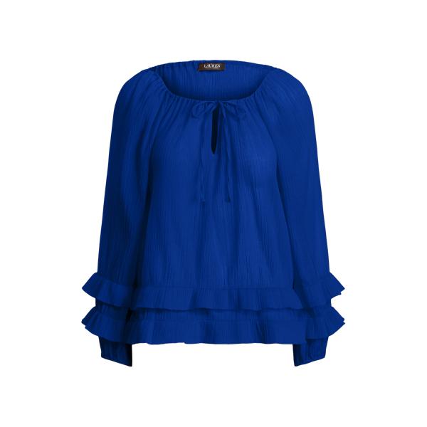Lauren Petite Ruffle-trim Crinkle Cotton Top In Blue