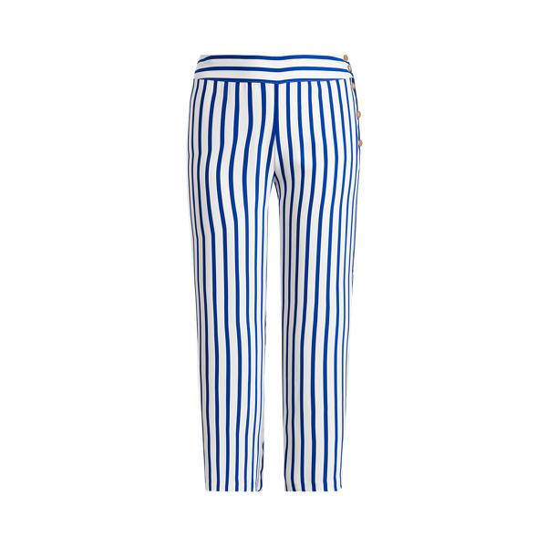 Lauren Woman Striped Satin Wide-leg Pant In Sapphire Star/white