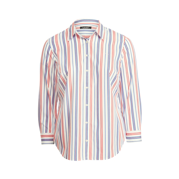 Lauren Woman Striped Cotton Broadcloth Shirt In Red/blue/white Multi