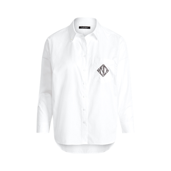 Lauren Woman Logo Cotton Broadcloth Shirt In White