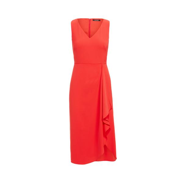 Lauren Georgette V Neck Dress,Bright Hibiscus