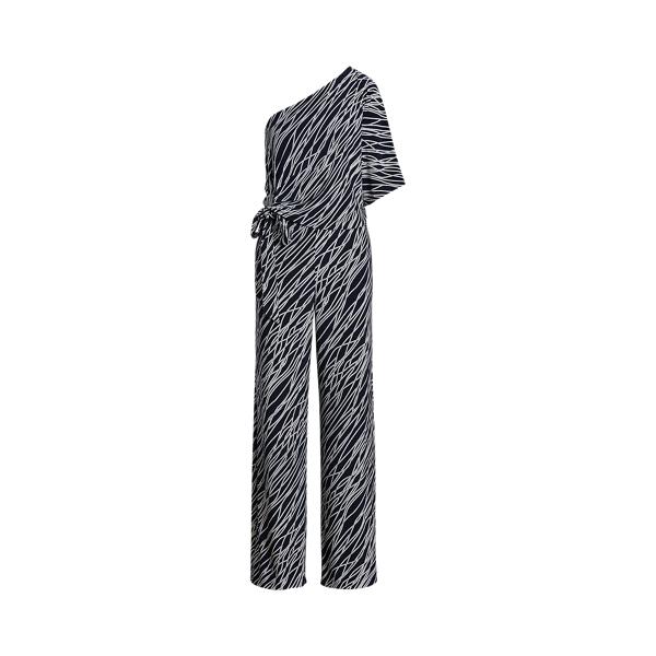 Lauren Ralph Lauren Print Jersey One-shoulder Jumpsuit In Lighthouse Navy/cream