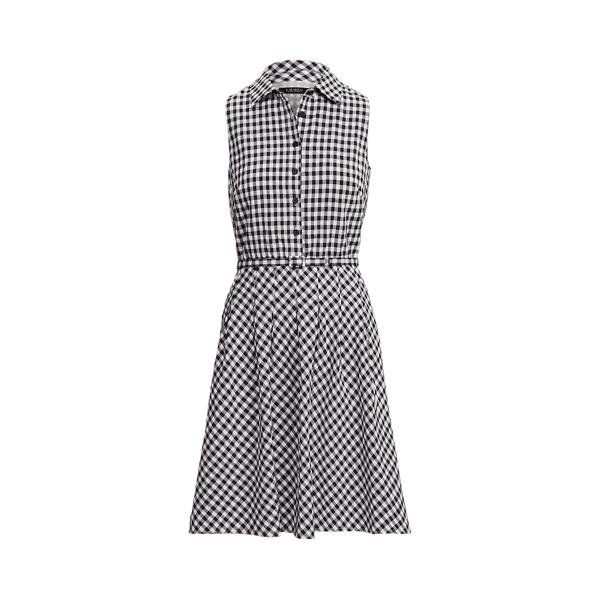 Lauren Gingham Sleeveless Dress,Lighthouse Navy/White