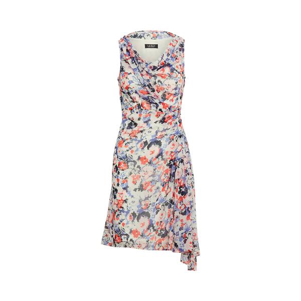 Lauren Floral Georgette Sleeveless Dress,Navy/Pink/Multi