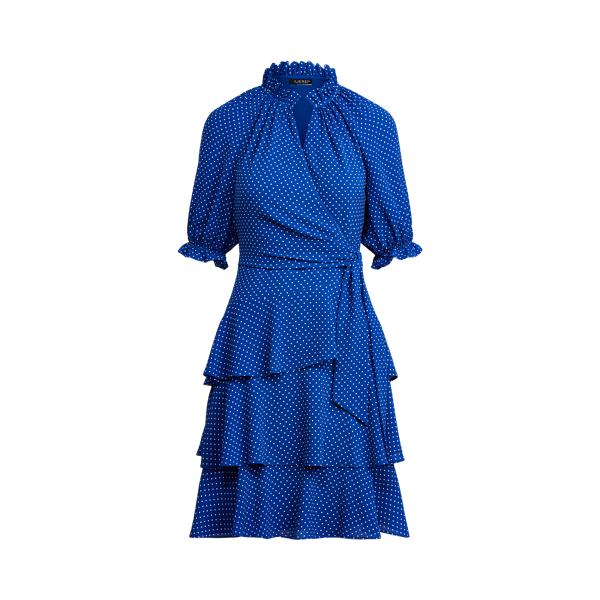 Lauren Ralph Lauren Polka-dot Crepe Dress In Blue