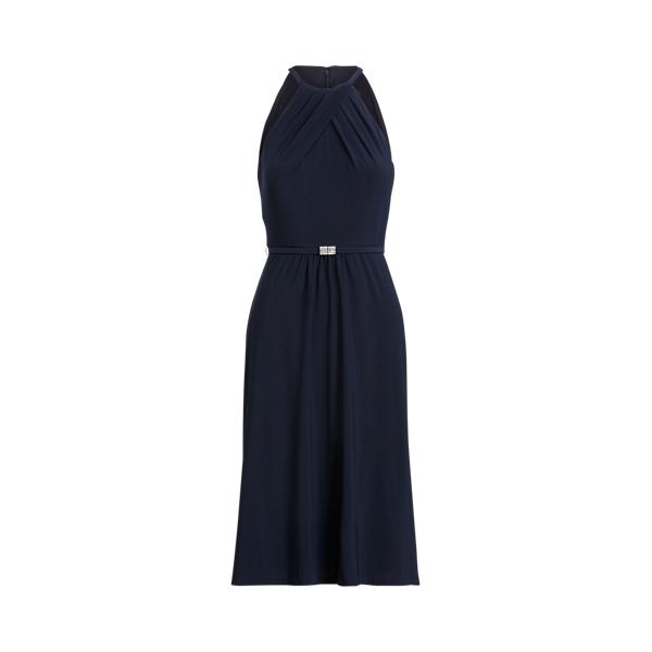 Lauren Ralph Lauren Jersey Halter Dress In Blue
