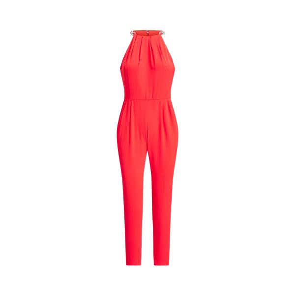 Lauren Ralph Lauren Crepe Halter Jumpsuit In Red