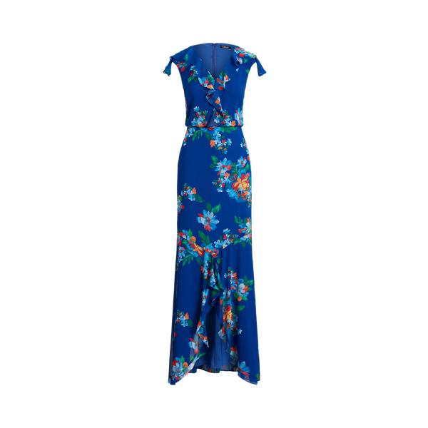 Lauren Ralph Lauren Floral Crinkle Georgette Gown In Blue