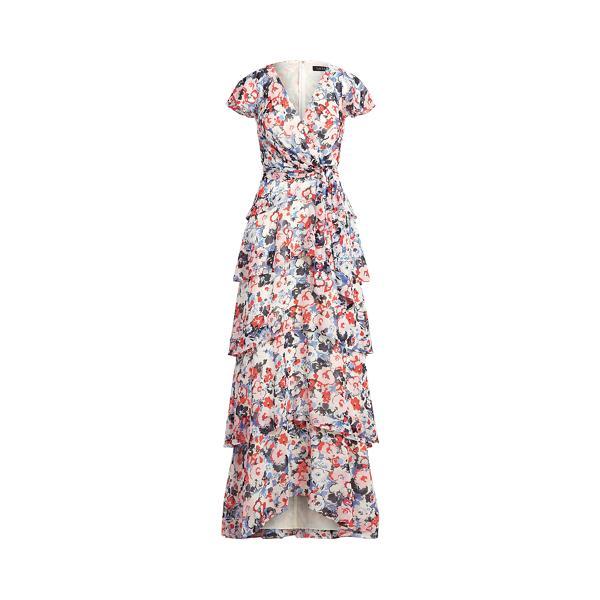 Lauren Floral Ruffled Georgette Dress,Navy/Pink/Multi