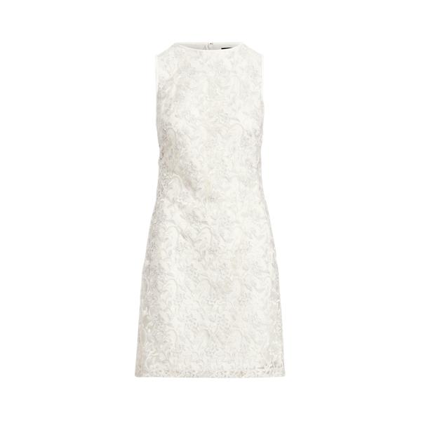 Lauren Embroidered Sleeveless Dress,Lauren White/Silver