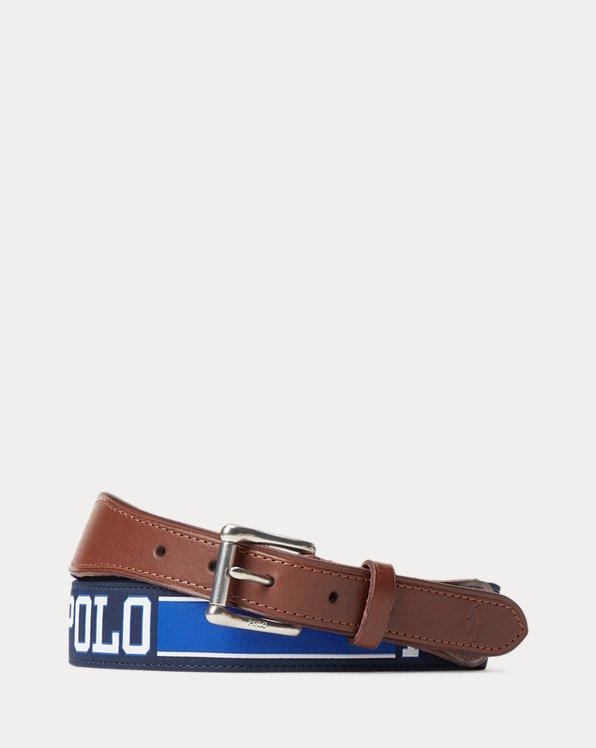 Leather-Trim Striped Logo Belt