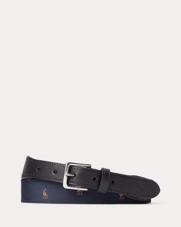 Leather-Trim Silk Jacquard Belt