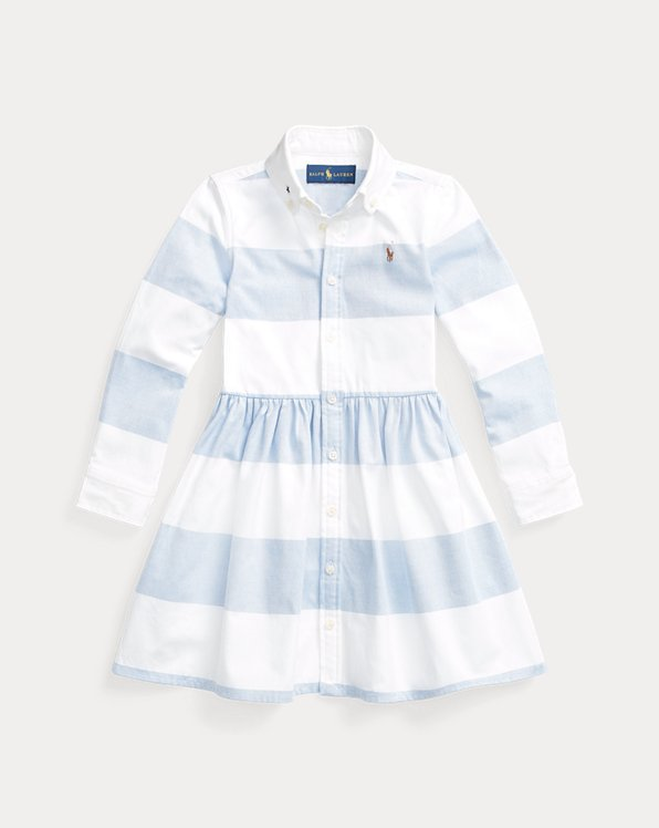 Rugby-Stripe Cotton Oxford Shirtdress